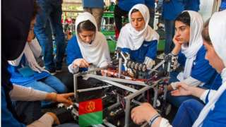 """The """"Afghan Dreamers"""" during the 2017 International Robotics Championship"""