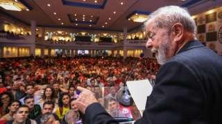 O ex-presidente Lula no 7º Congresso do PT, em 22/11/2019