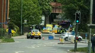 The crash scene after the police car overturned on London Road is St Albans on 12 May