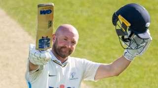 Yorkshire's Adam Lyth celebrates his century