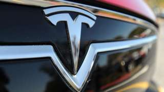 Tesla car grille close-up
