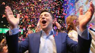 Volodymyr Zelensky celebrates in Kiev. 21 April 2019