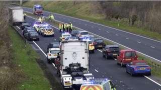 scene of crash on A55