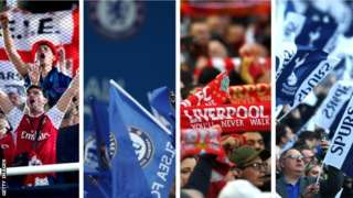 Arsenal, Chelsea, Liverpool and Tottenham fans
