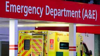 Ambulance arriving at an A&E department