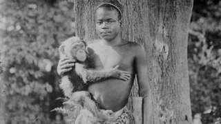 လွန်ခဲ့တဲ့ အနှစ်တရာကျော်က အခုလို အာဖရိကန် လူငယ်လေးတစ်ဦးကို မျောက်လှောင်အိမ်အတွင်းမှာ အမေရိကန်က ဘရွန့်ဇ် တိရစ္ဆာန်ရုံက ထည့်သွင်းပြသခဲ့