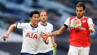 Tottenham forward Son Heung-min (left) battles for the ball with Arsenal midfielder Dani Ceballos (right) in the north London derby