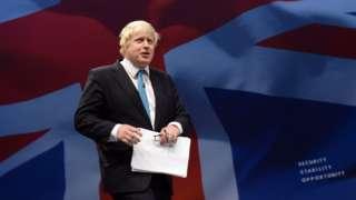 Boris Johnson in front of Union Jack