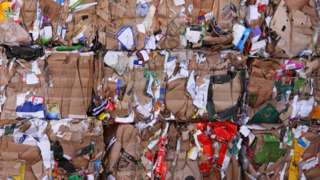 cardboard and textile waste