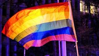 An LGBT rainbow flag