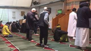 Congregation in Paris Pantin mosque, now closed by French authorities, 20 Oct 20