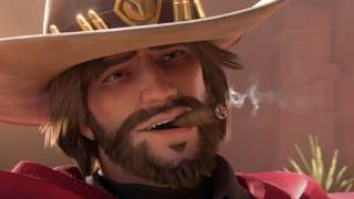 Jesse McCree, a cowboy wearing a hat and duster, smoking a cigar
