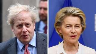 Composite picture of Boris Johnson and Ursula von der Leyen