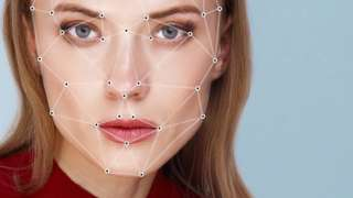 Face with lines showing measurements between facial features