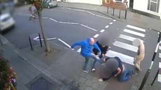 Football fans fighting outside The Cornwall pub