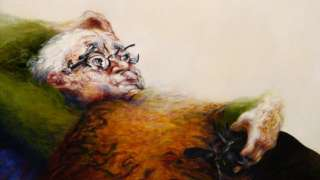 Teddy Wolfe and Blackie by Maggi Hambling