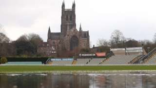 Worcestershire's New Road under water in March 2019