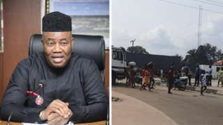 Nigeria Minister of Niger-Delta Affairs Godswill Akpabio and a section of ELeme road wey protersters block