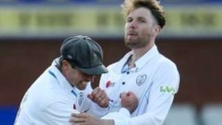 Wayne Madsen helped Derbyshire's Matt Critchley celebrate only his third five-wicket haul for the county