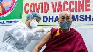 Tibetan spiritual leader the Dalai Lama receives a Covid-19 vaccine in Dharmsala, India, 6 March 2021
