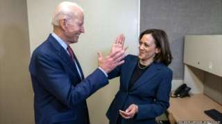 After the announcement, the Biden-Harris campaign released this photo of the two together