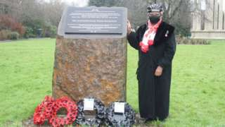 Windrush Cymru Elders representative Roma Taylor at the laying of the new wreaths