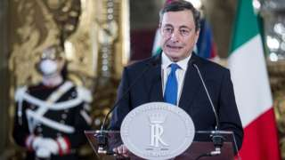 The former President of the ECB (European Central Bank) in a press conference at Quirinale after being charged by President of the Republic with forming a new technocratic government in Rome (Italy), February, 3rd, 2021