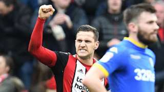 Billy Sharp celebrates his winner for Sheffield United