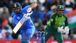 India's Rohit Sharma and South Africa keeper Quinton de Kock
