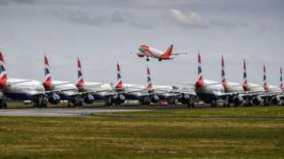 BA planes sit grounded on the tarmac in Glasgow