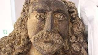 Close-up of Samson's restored face