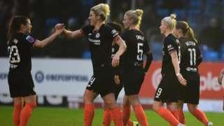 Chelsea celebrate a goal against Birmingham City
