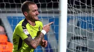 Lewis Alessandra celebrates scoring for Notts County