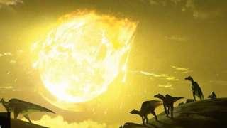 印象图:恐龙和撞地陨石