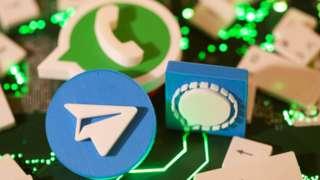 WhatsApp, Telegram ve Signal logoları ilüstrasyonu