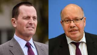 US Ambassador Richard Grenell (L) and German Economy Minister Peter Altmaier