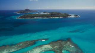 St Anne marine national park off Mahe island, aerial view, Seychelles