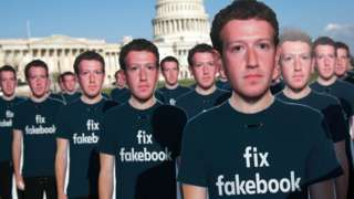 Cardboard cutouts of Mark Zuckerberg at a demonstration outside the US Capitol building in April 2018