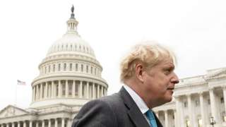 Boris Johnson outside the Capitol Building in Washington