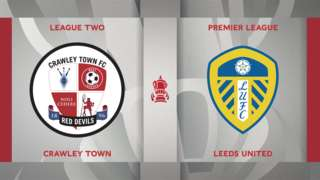 Crawley Town v Leeds United badge graphics
