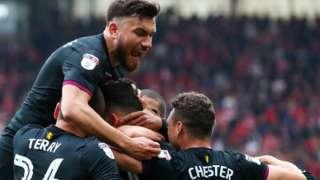 Aston Villa celebrate a goal