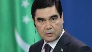Turkmenistan President Gurbanguly Berdymukhamedov speaks to the media