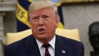 Perezida Donald Trump avuga kuri Syria mu biro bye bya White House