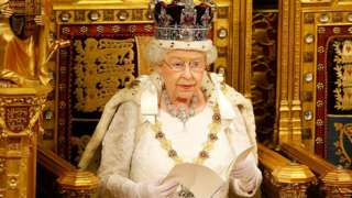 The Queen on the throne of the House of Lords