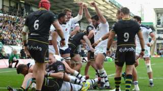 Clermont Auvergne celebrate their fourth try against Northampton Saints.