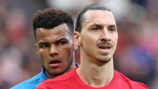 Manchester United striker Zlatan Ibrahimovic and Bournemouth defender Tyrone Mings