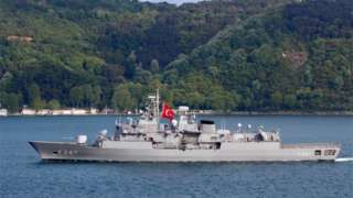 A Turkish frigate in the Bosphorus, 2019