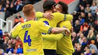 Blackburn players celebrate Bradley Dack's opener