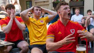 Football fans watch Wales v Switzerland at the Philharmonic pub in Cardiff city centre on 12 June