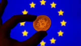 Bitcoin symbol and EU flag